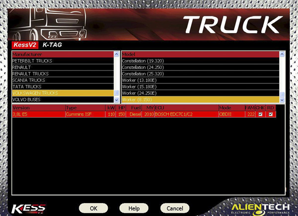 Kess V2 Truck Version Truck List
