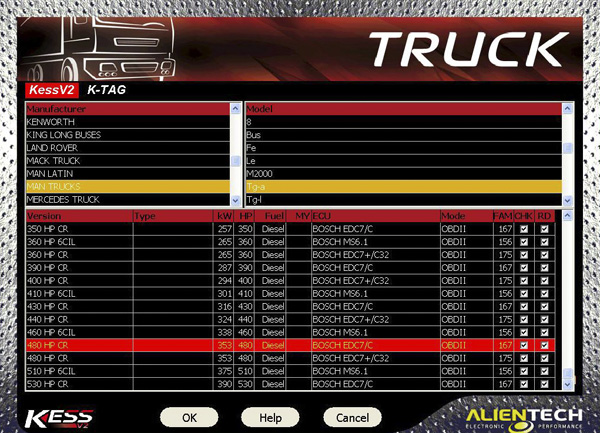 Kess V2 Truck Version Man Truck List