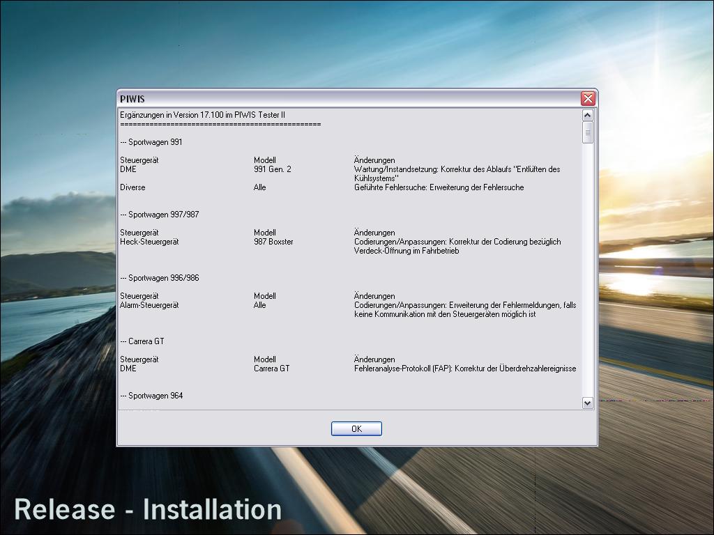 PIWIS TESTER II V17.100 Version Details