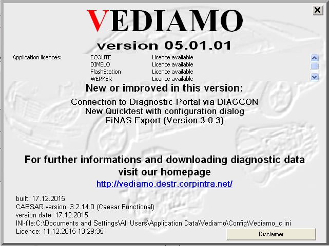 Benz Vediamo V05.01.01 Screen