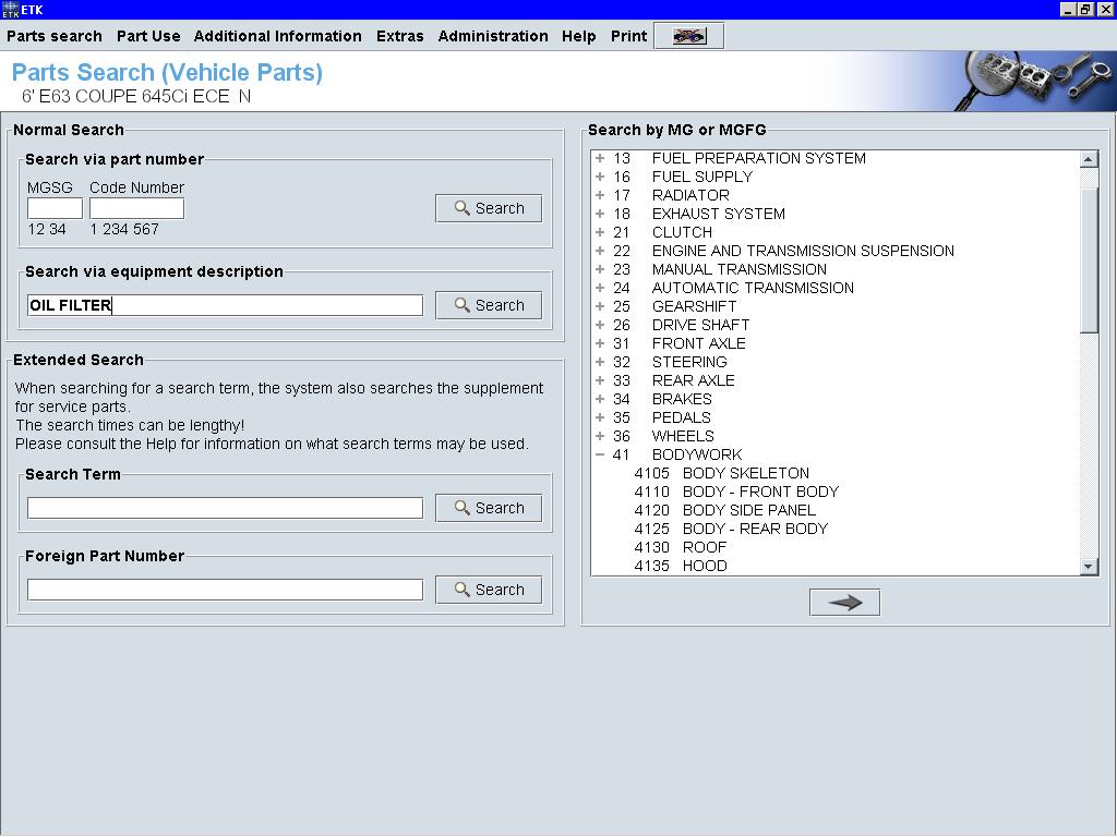 ETK Parts Search