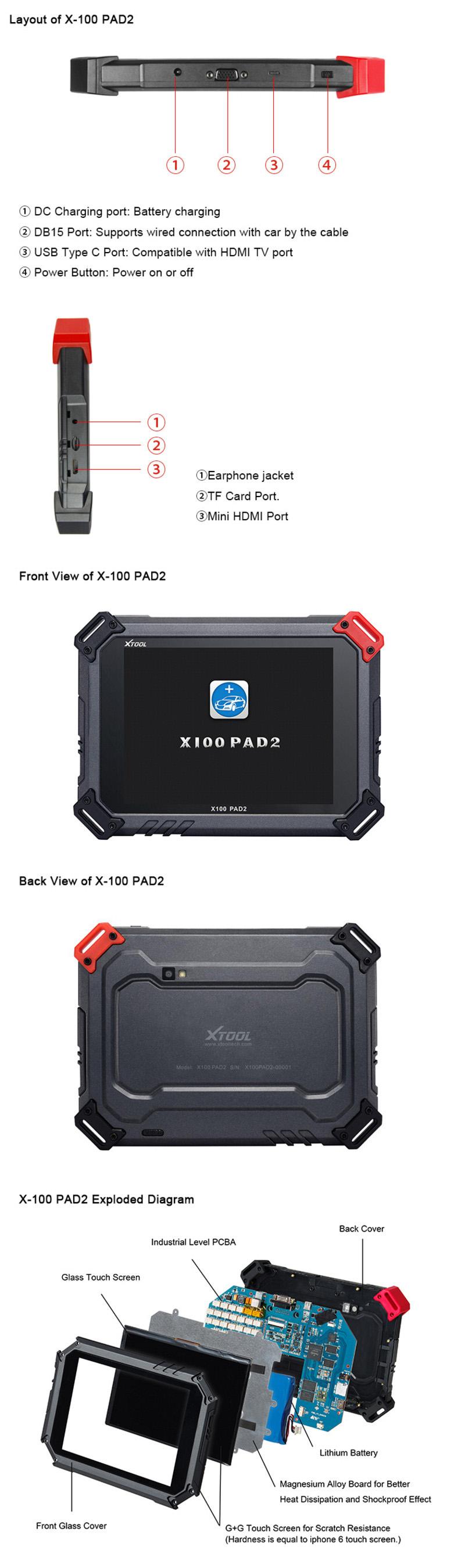 XTOOL X100 PAD2 X-100 Wifi & Bluetooth Auto Key Programmer ...