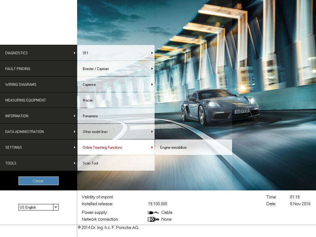 Porsche Piwis II V18.100 Online Teaching Function