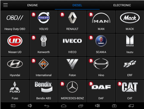XTOOL EZ500 HD Truck list