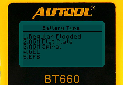 AUTOOL BT660 Battery Type