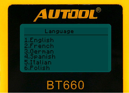 AUTOOL BT660 Battery Analyzer Language