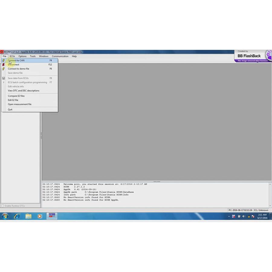 Scania XCOM Software Screen