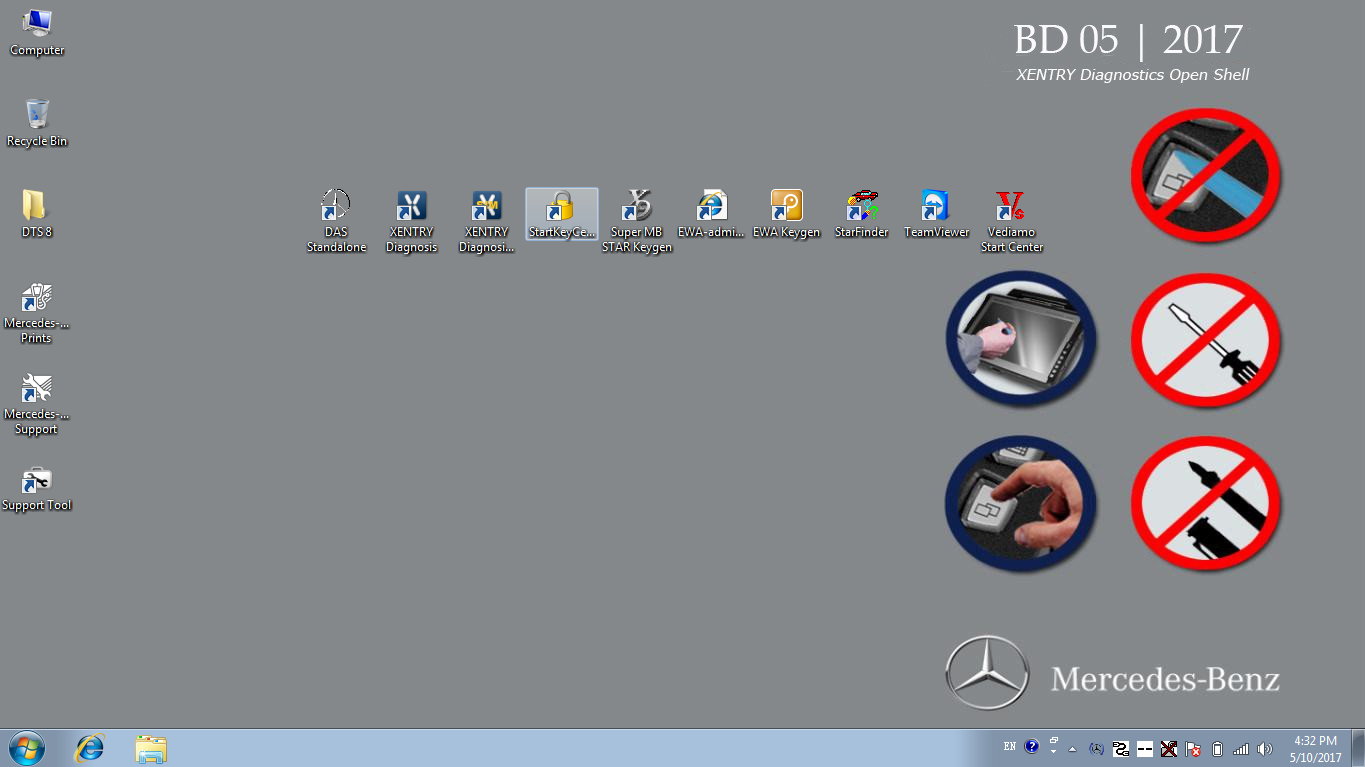 Benz XDOS 2017-05 Desktop Main screen