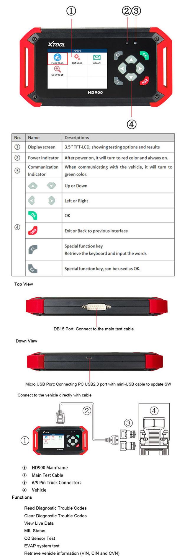 XTOOL HD900 Interface
