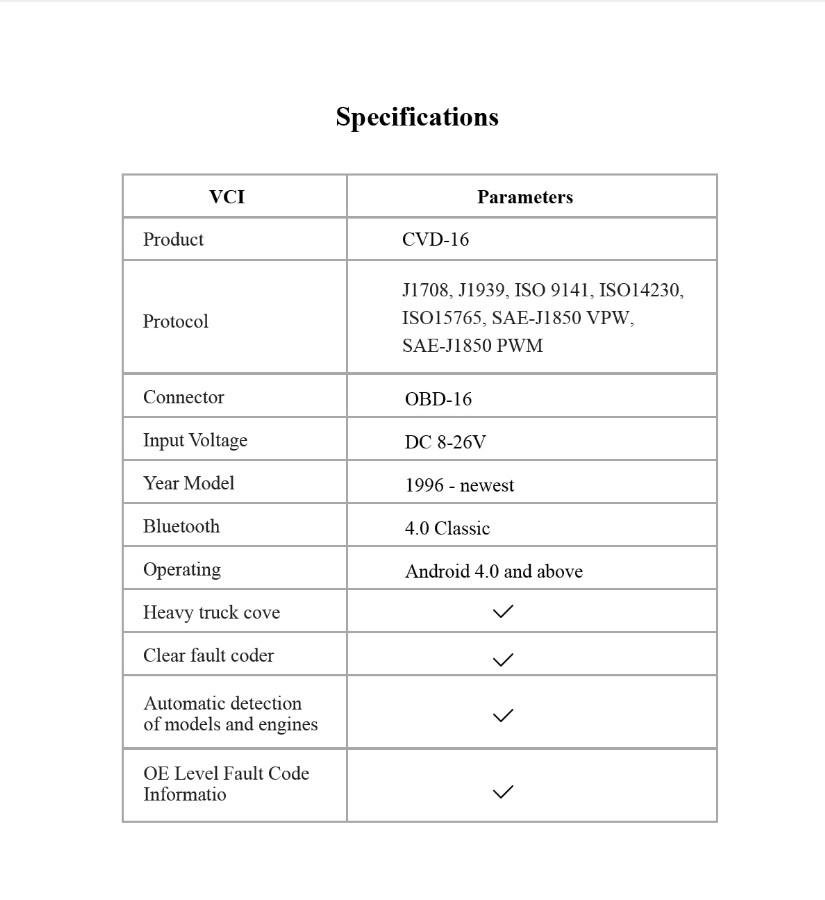 CVD-16 Specification