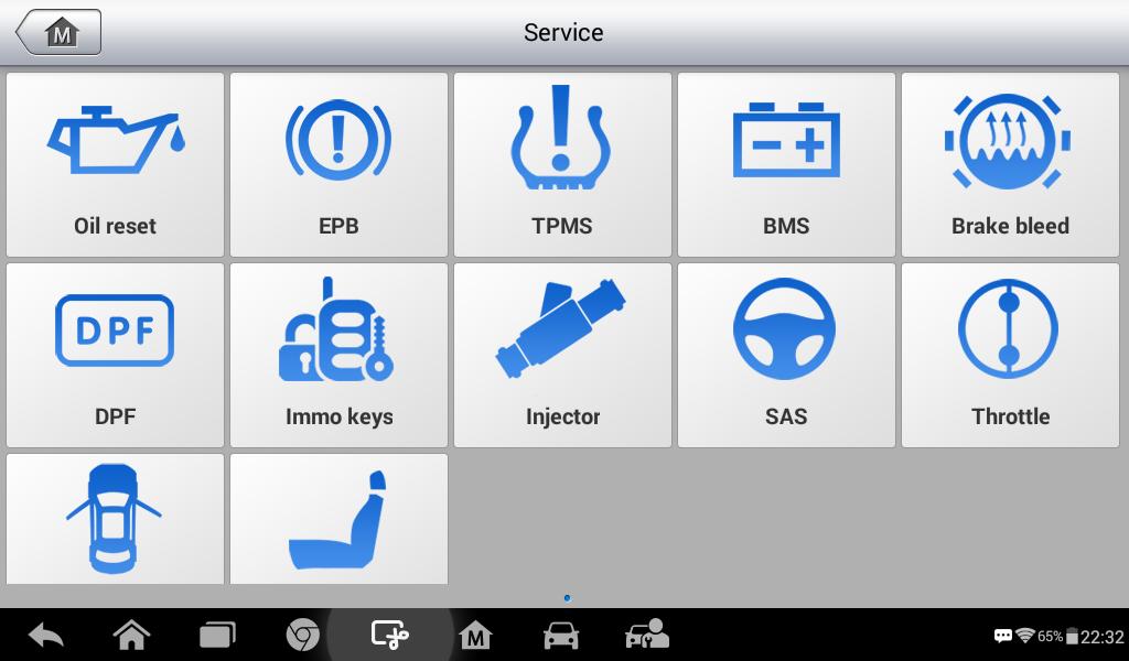Autel MK808 Software Function List